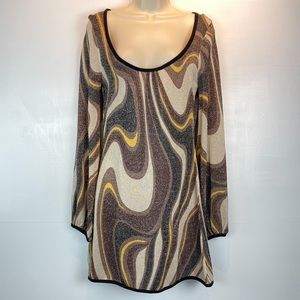Like New BeBe metallic sweater mini dress sz M